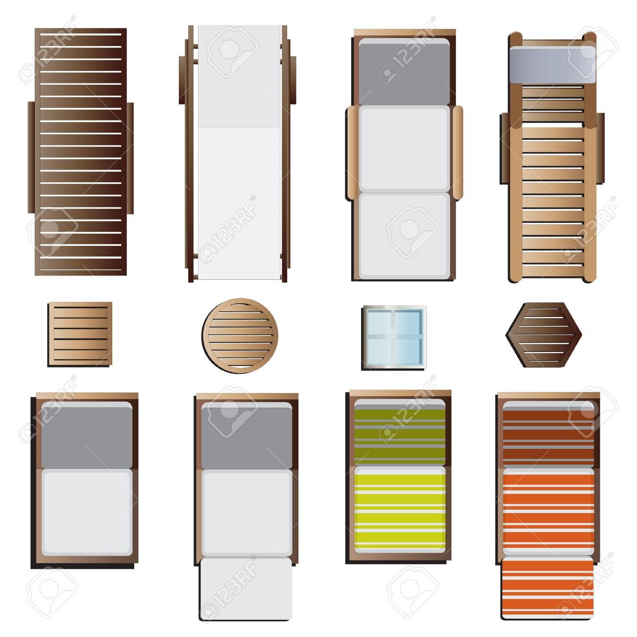 outdoor furniture sunbeds set top view set 8 for landscape design vector illustration stock outdoor