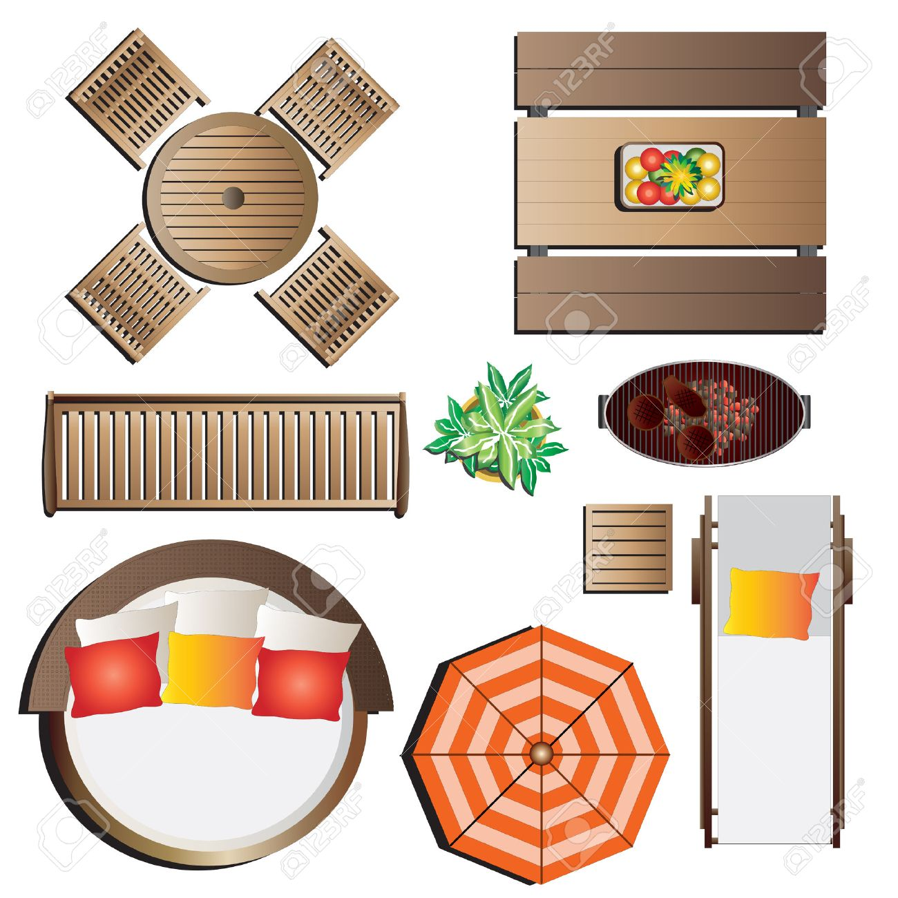 outdoor furniture top view set 13 for landscape design vector illustration stock vector 48756154