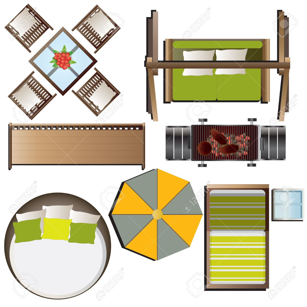 outdoor furniture top view set 16 for landscape design vector illustration stock vector 48756157