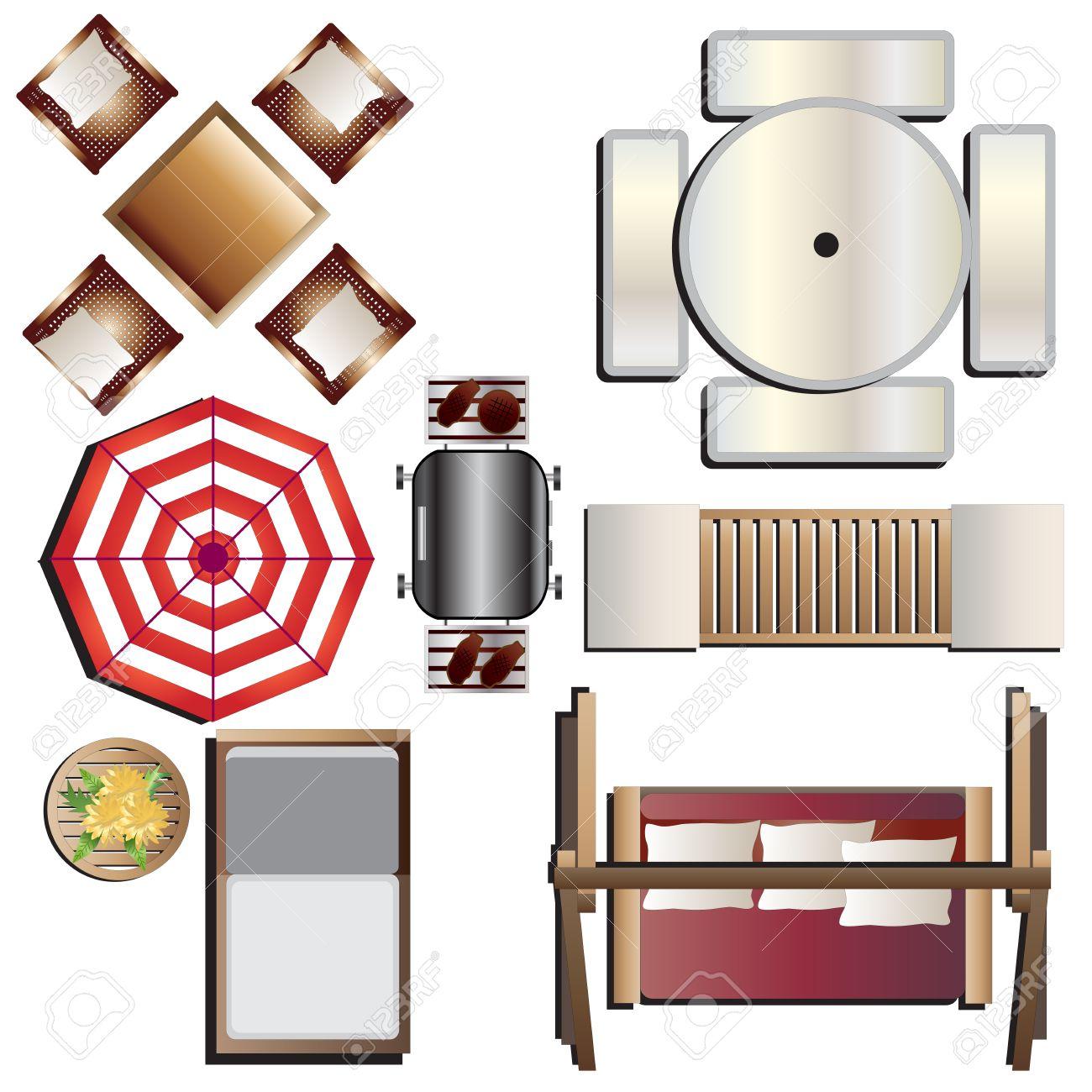 Outdoor Furniture Top View Set 17 For Landscape Design Vector Illustration Stock