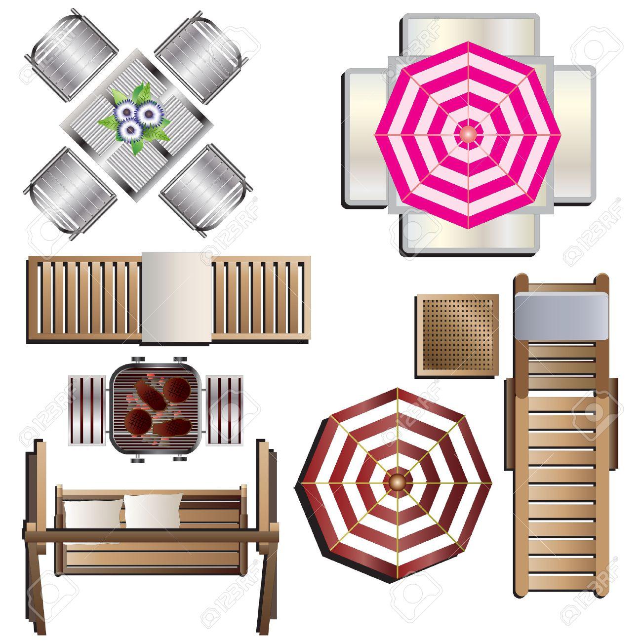 Outdoor Furniture Top View Set 18 For Landscape Design Vector Illustration Stock