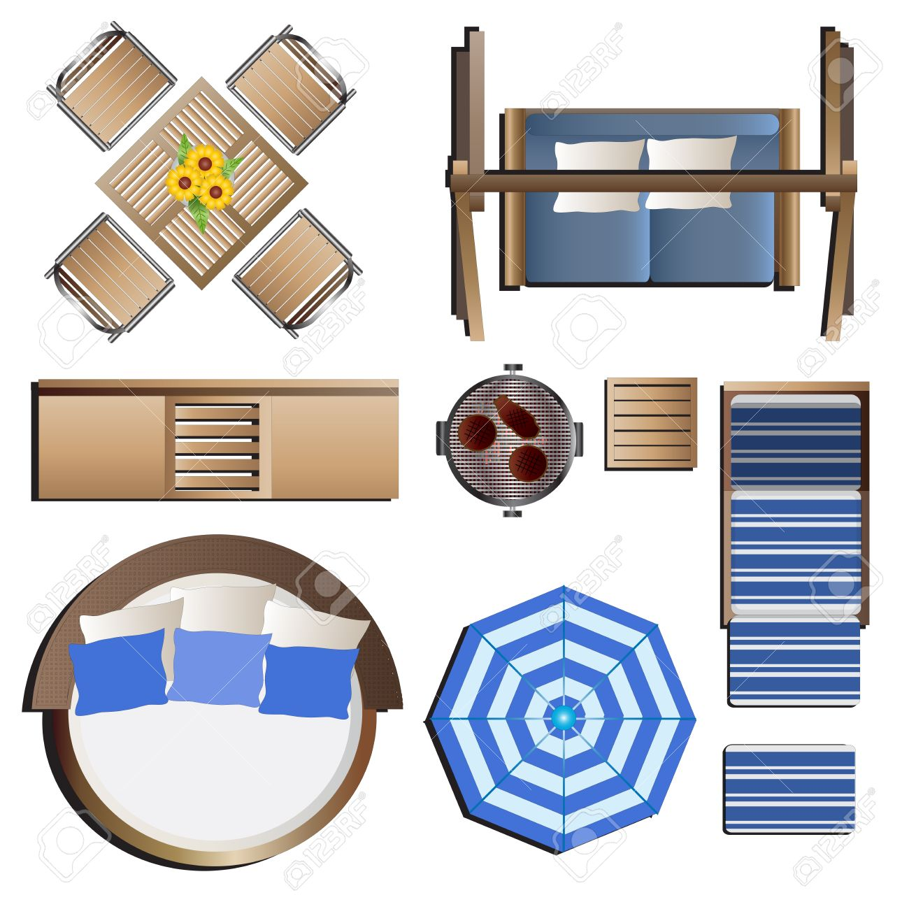 outdoor furniture top view set 19 for landscape design vector illustration stock vector 48756158