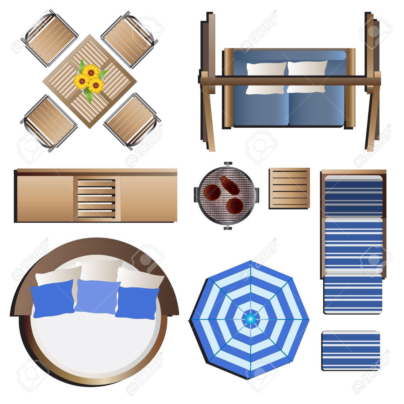 Outdoor furniture top view set 19 for landscape design vector illustration stock vector 48756158