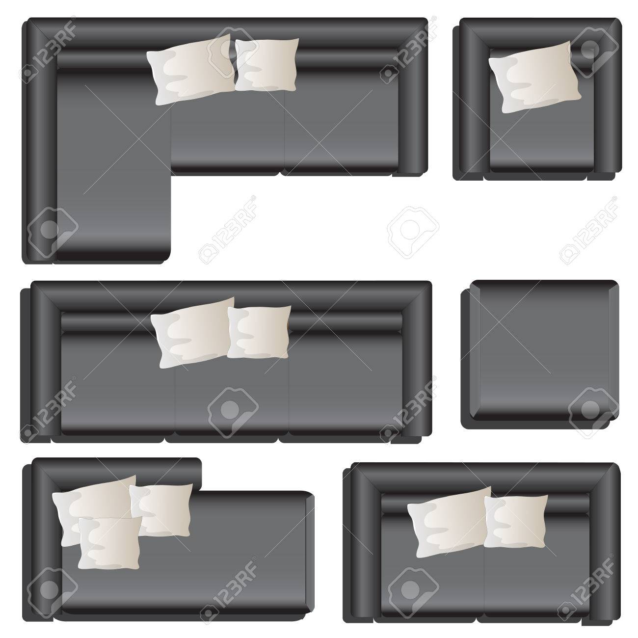 sofa top view vector  Furniture Top View Set 33 For Interior ,vector Illustration ...