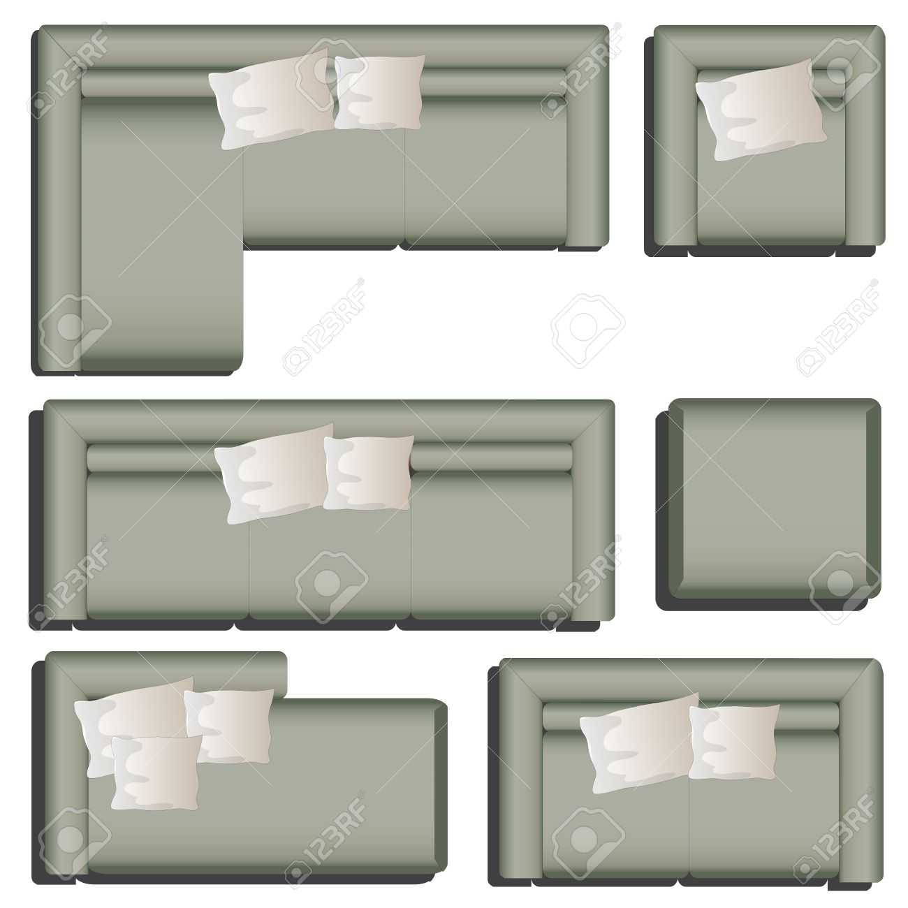 Furniture Top View Set 38 For Interior Vector Illustration