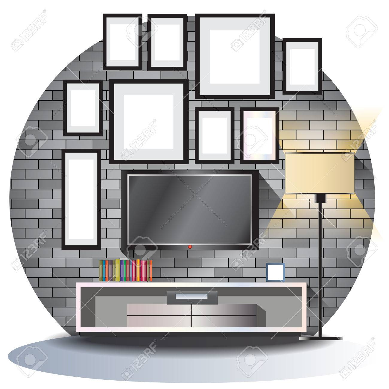 Brick Tv Meubel.Tv Cabinet Elevation Set With Brick Background For Interior Vector