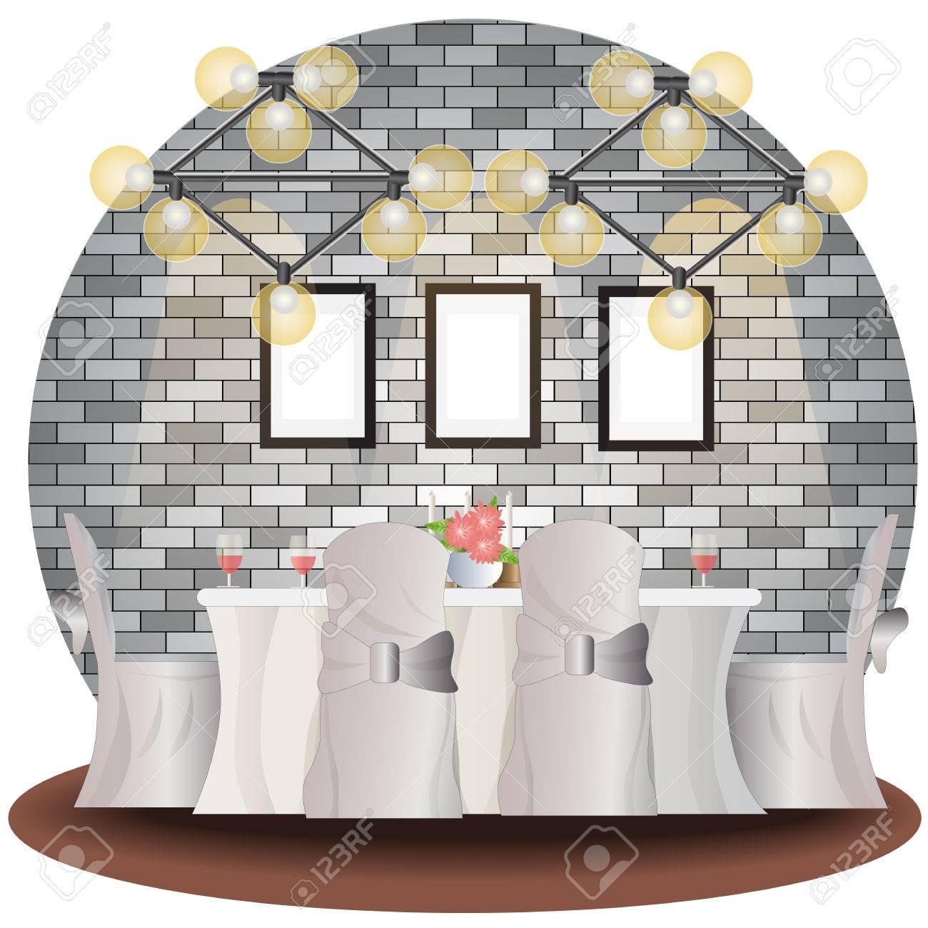Esszimmer Höhe Mit Backstein Hintergrund Set Innen, Vektor Illustration  Lizenzfreie Bilder