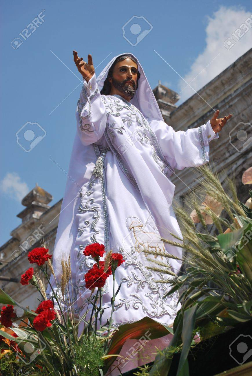the resurrected jesus in a easter day procession in antigua