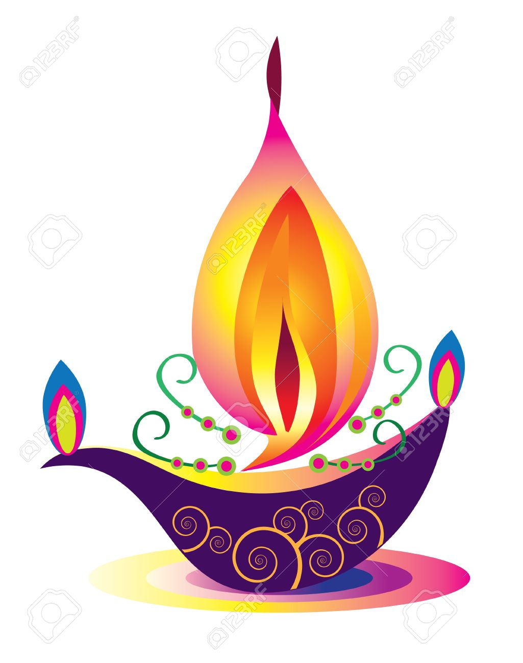 Indian Oil Lamp Pattern Stock Vector - 16683895