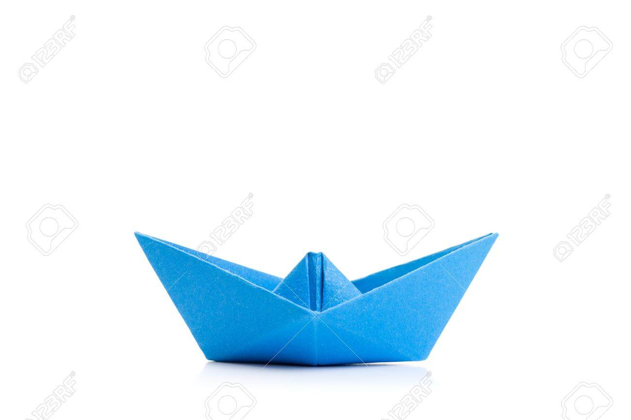Papper Blue Origami Boat Stock Photo, Picture And Royalty Free ...