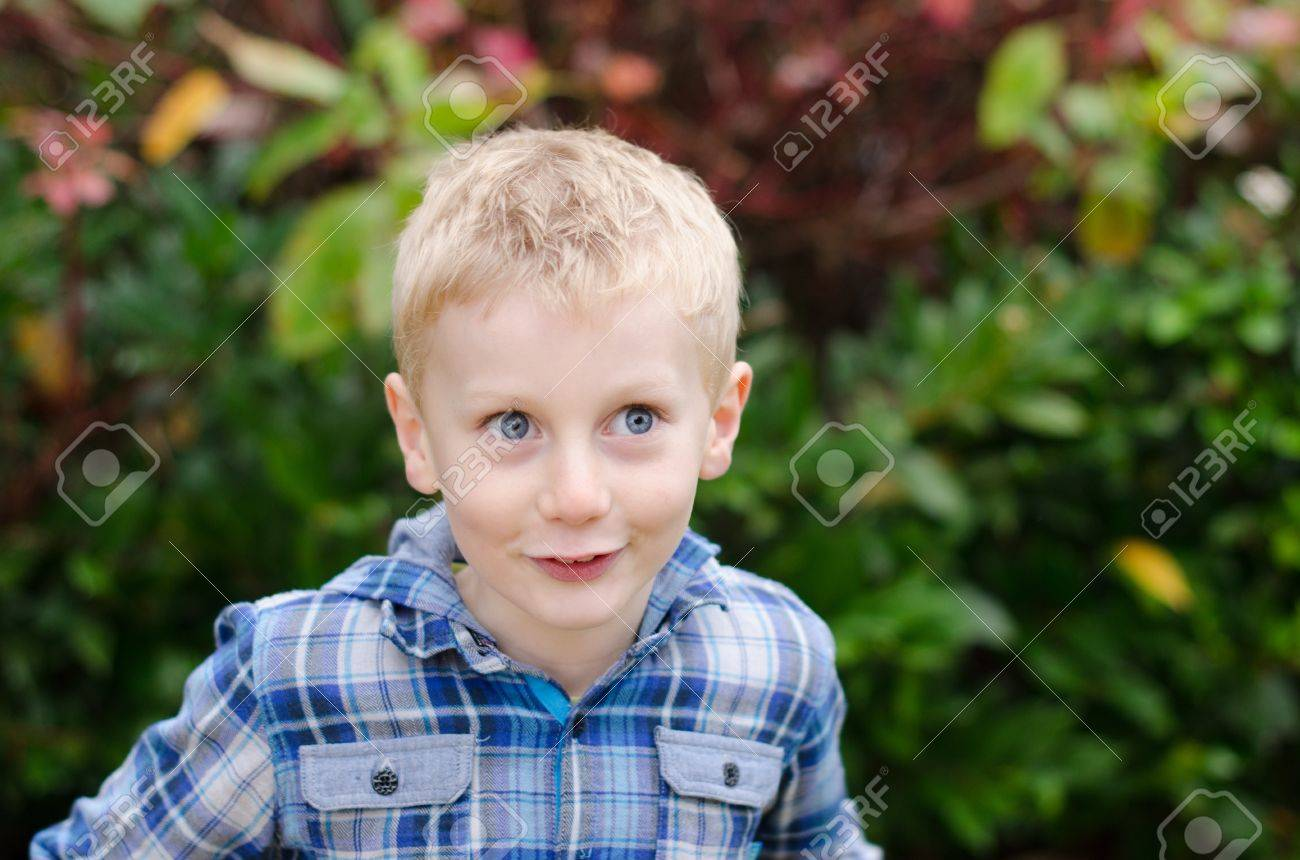 excited wide-eyed blonde boy kid with blue eyes in blue checked shirt Stock Photo - 16192960