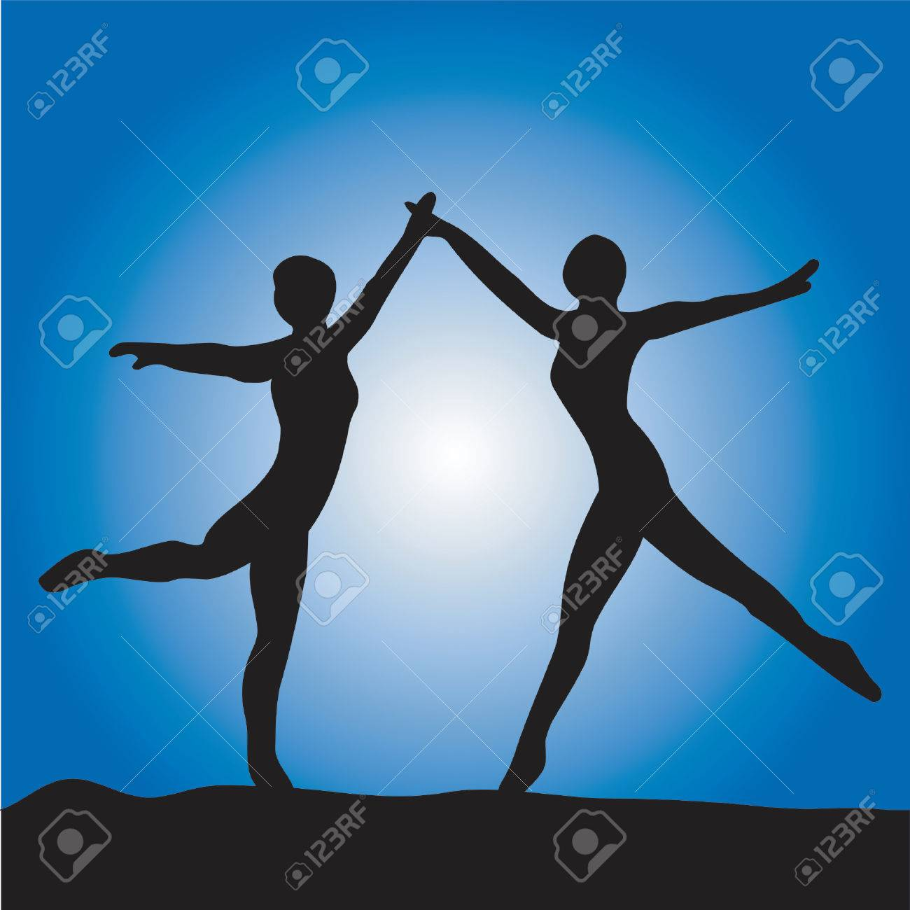 Two ballet dancer on a blue background Stock Vector - 416472