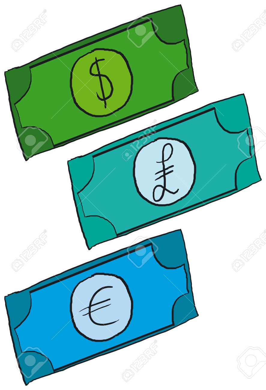 Dollar Pound And Euro Cartoon Money Stock Photo Picture And