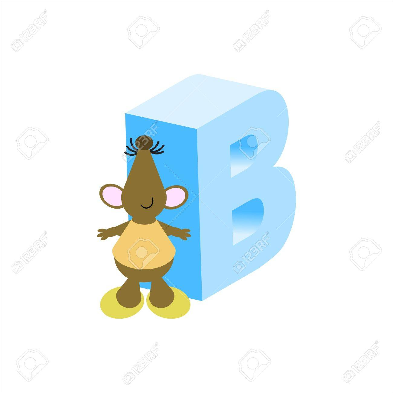Happy Mouse with upper case letter B Stock Photo - 4998161