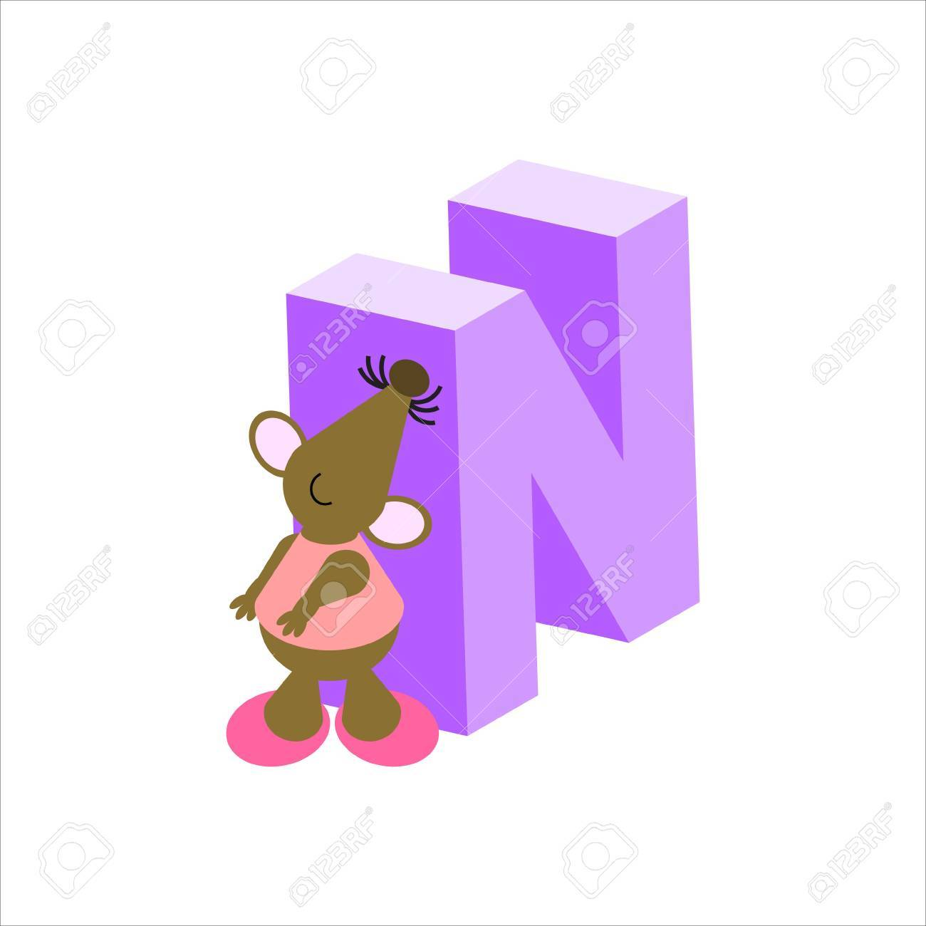 Happy Mouse with upper case letter N Stock Photo - 4998192