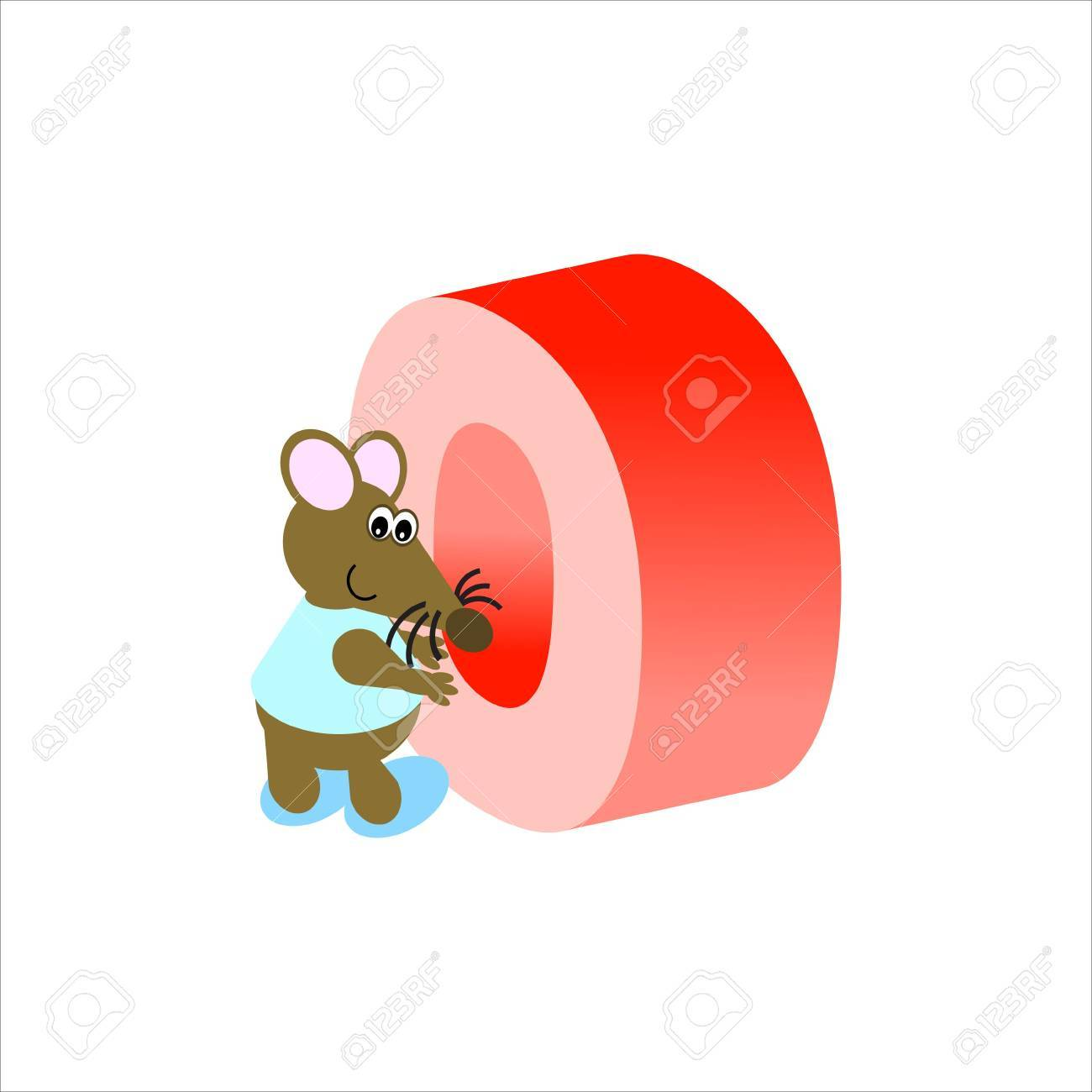 Happy Mouse with upper case letter O Stock Photo - 4998153