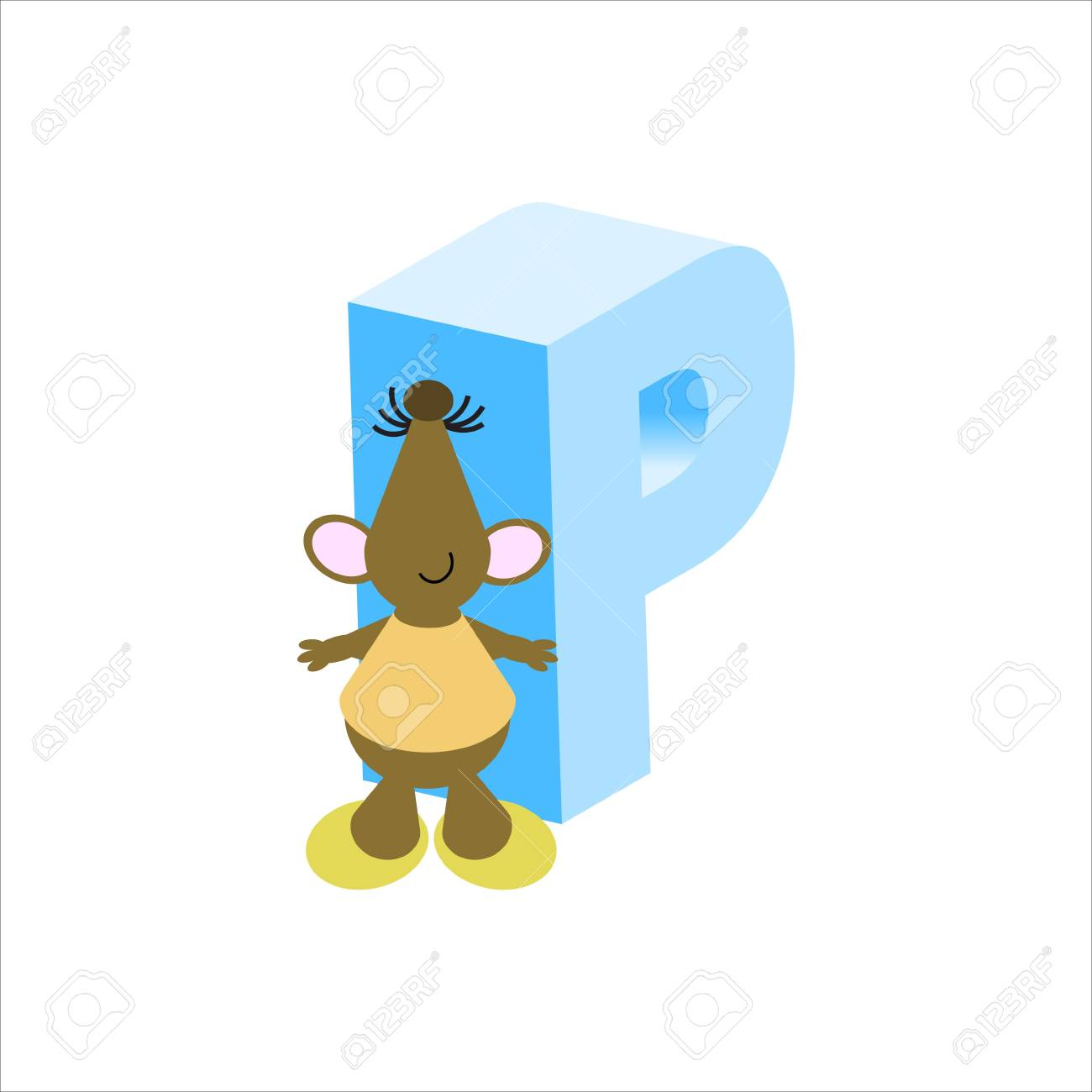 Happy Mouse with upper case letter p Stock Photo - 4998128