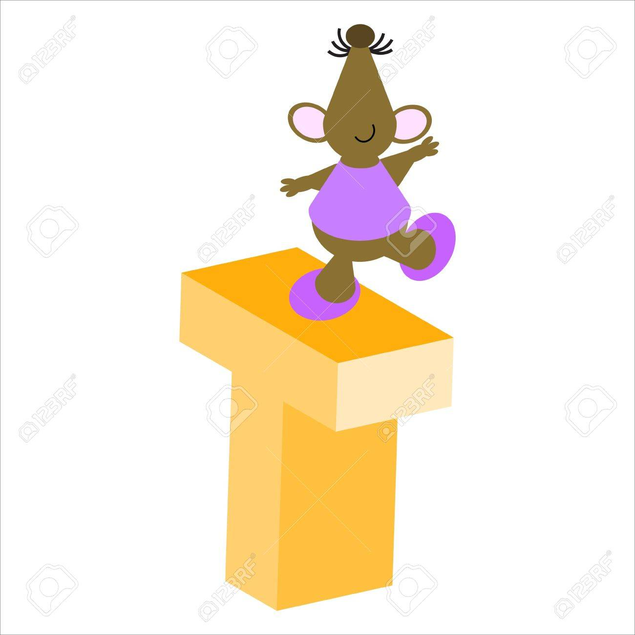 Happy Mouse with upper case letter T Stock Photo - 4998185
