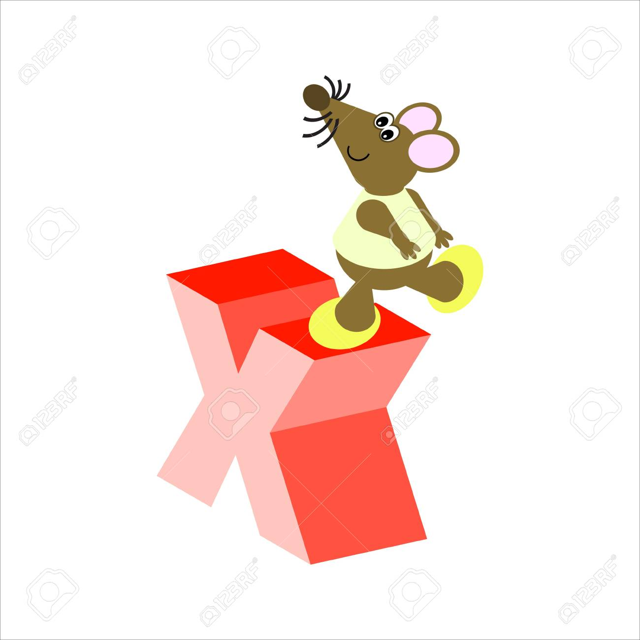 Happy Mouse with lower case letter x Stock Photo - 4998155