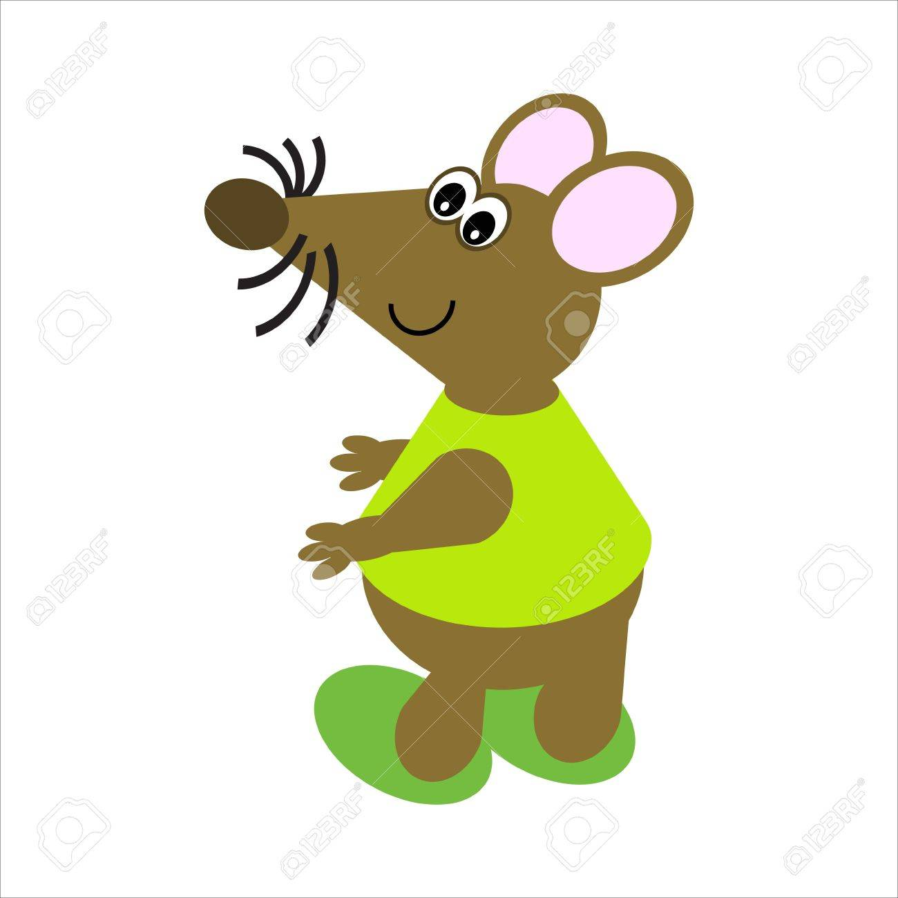 Cartoon of a happy, dancing mouse Stock Photo - 4998193