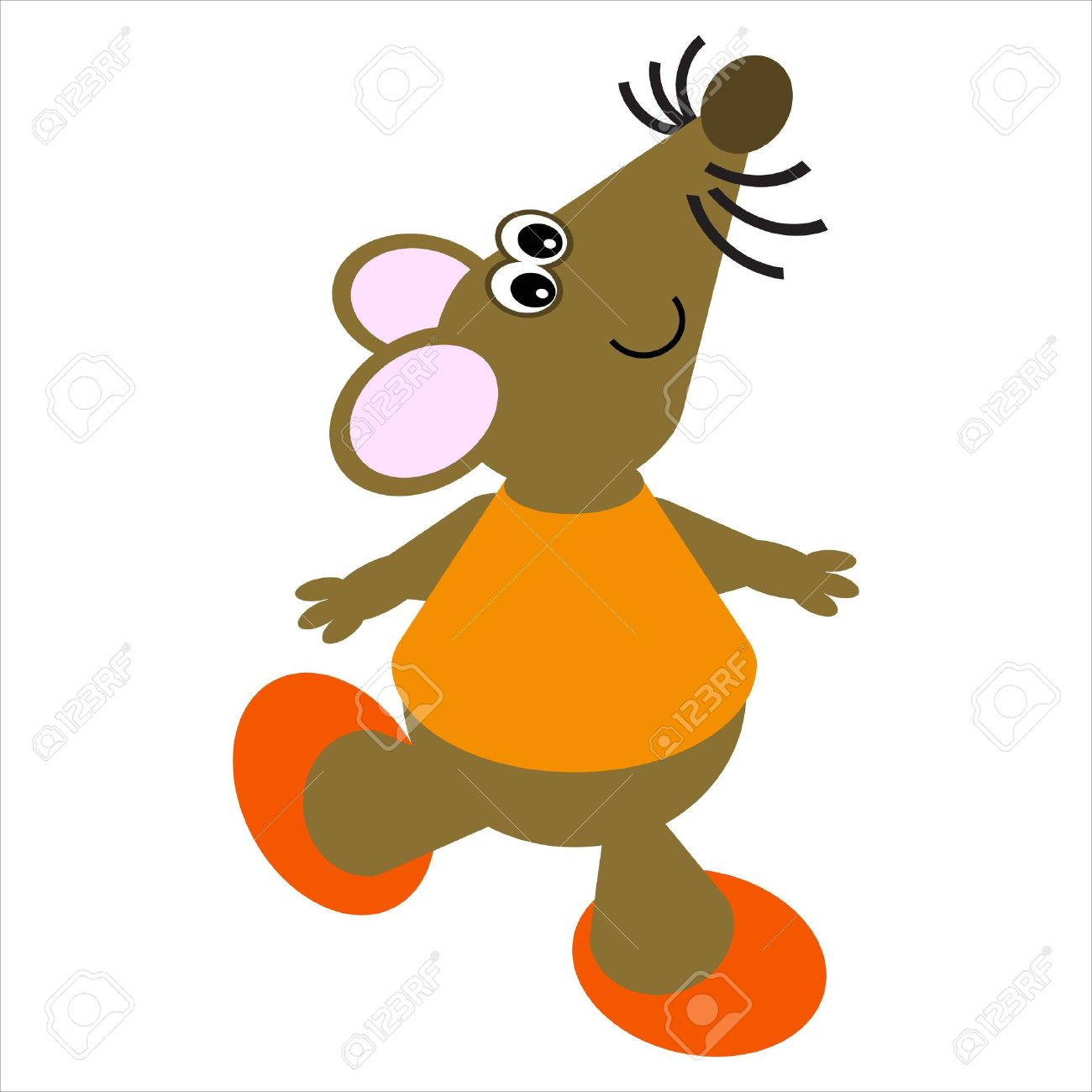 Cartoon of a happy, dancing mouse Stock Photo - 4998181
