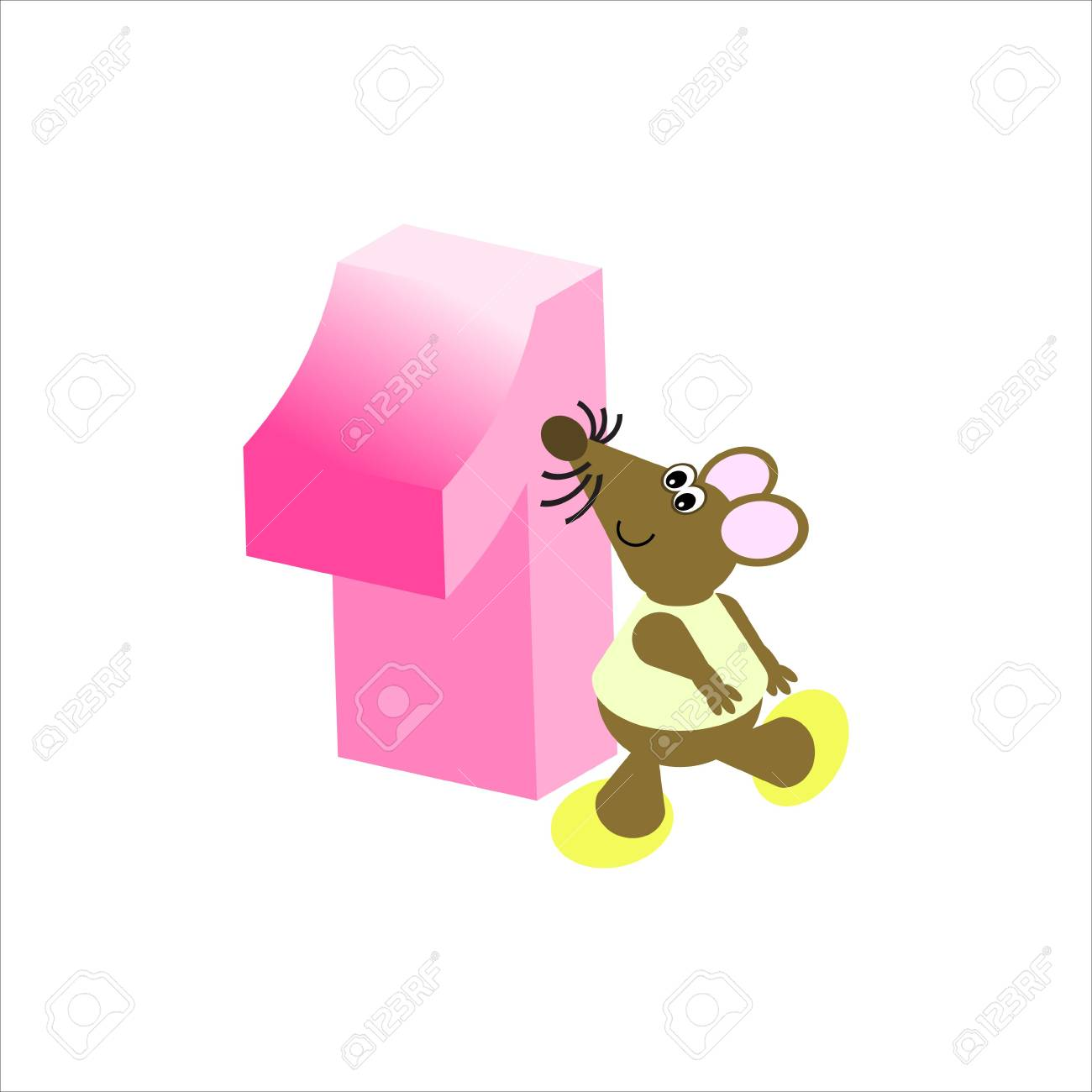 Happy Mouse with number 1 Stock Photo - 4998140