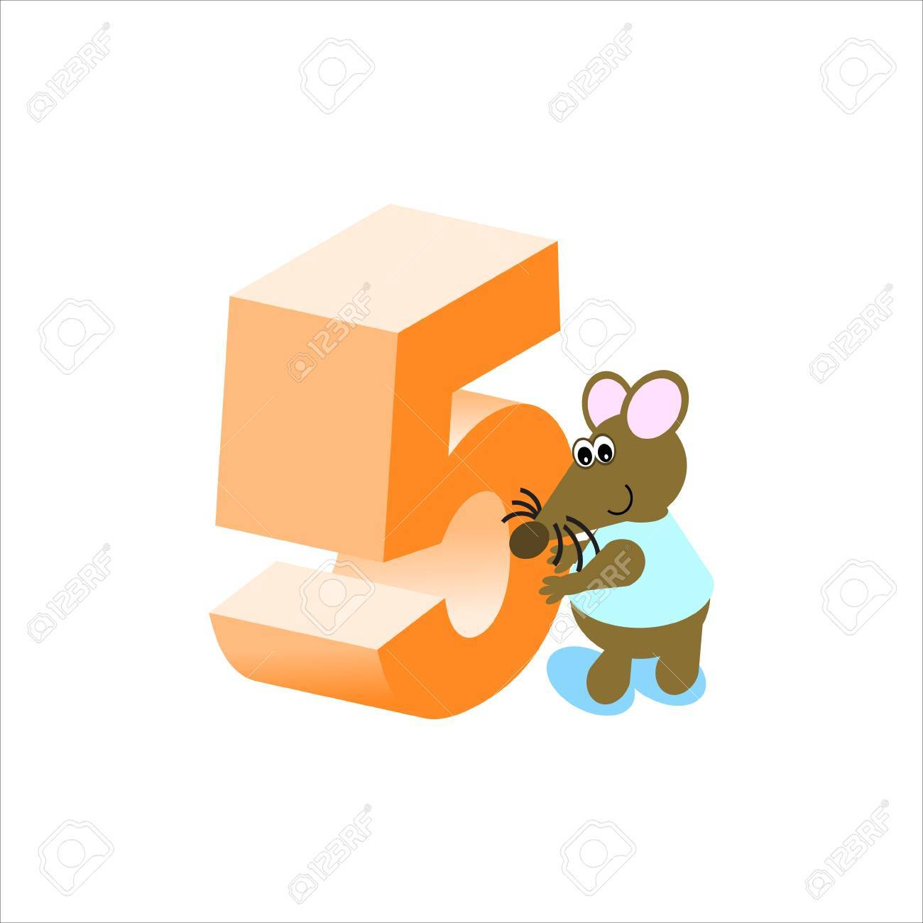 Happy Mouse with number 5 Stock Photo - 4998151
