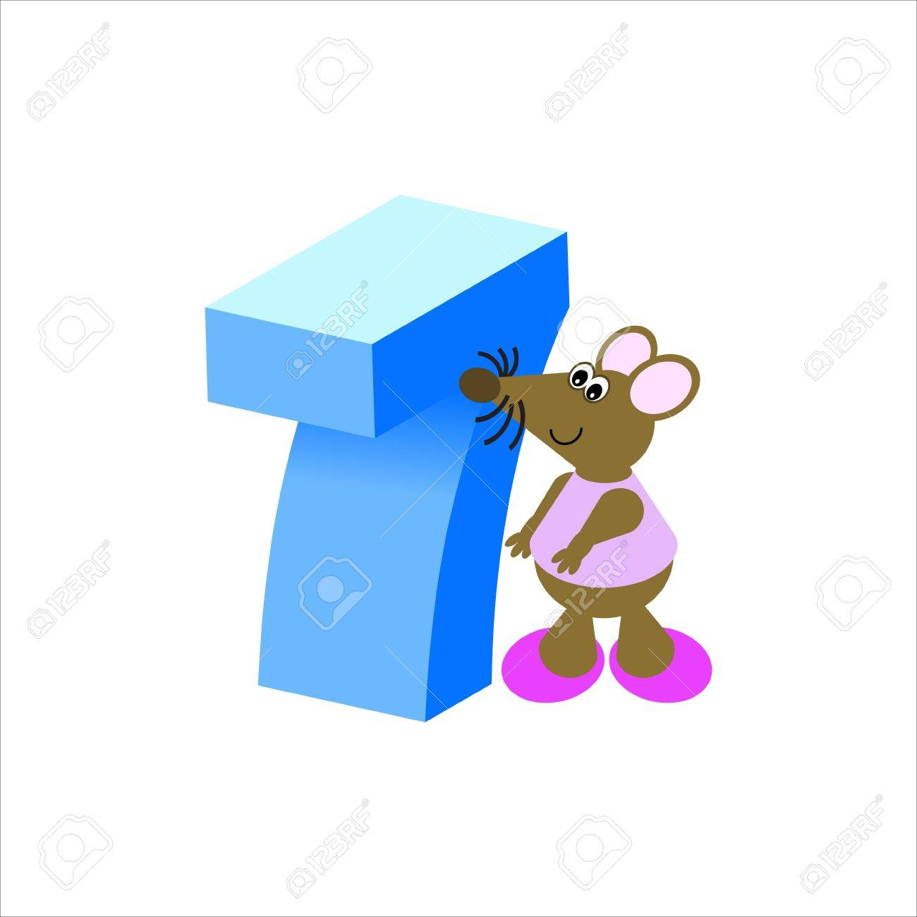 Happy Mouse with number 7 Stock Photo - 4998169