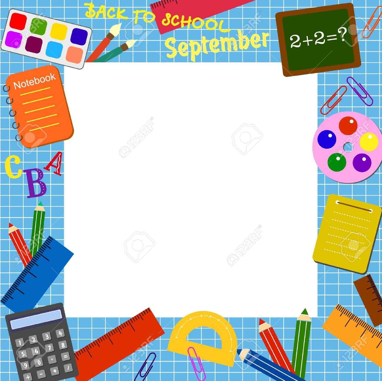 colorful border (frame) with the school objects royalty free