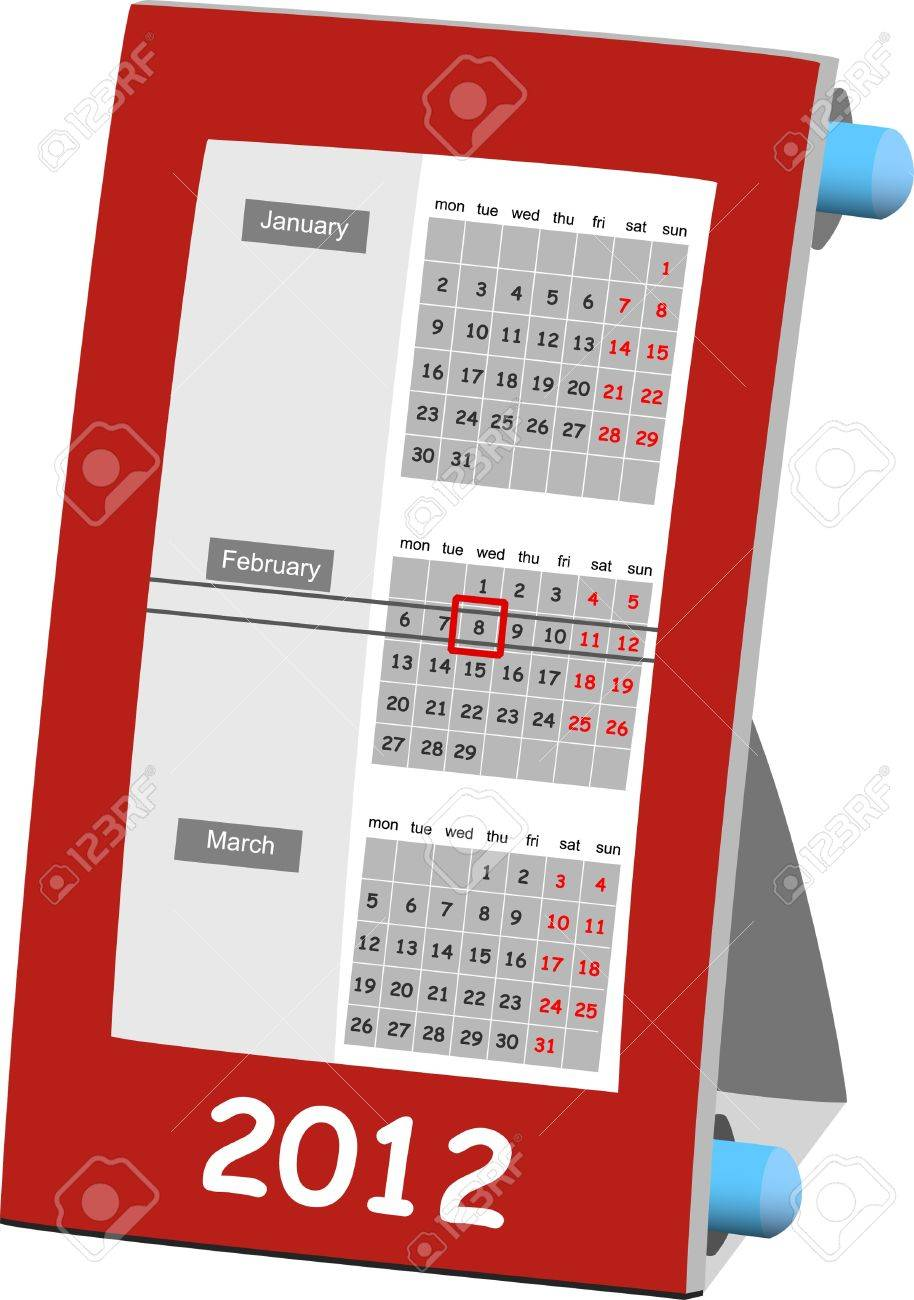 2012 year calendar isolated on the white background Stock Vector - 10453655