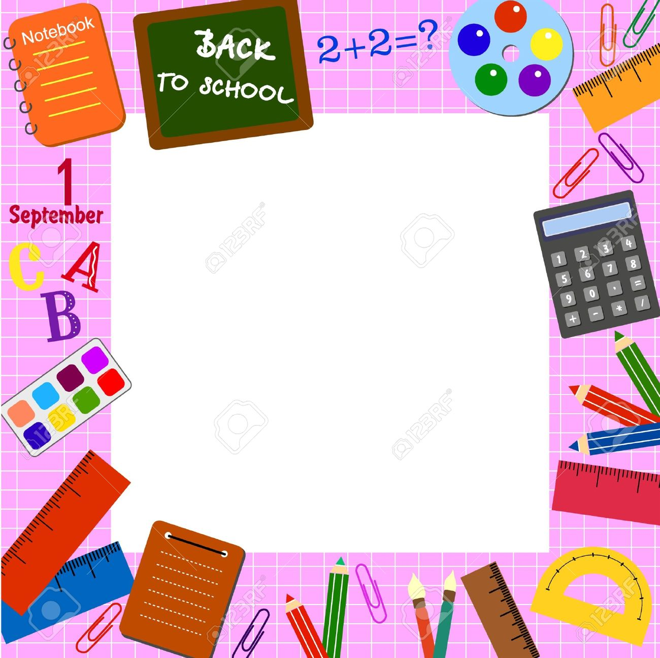 frame with the school objects stock vector 10483746