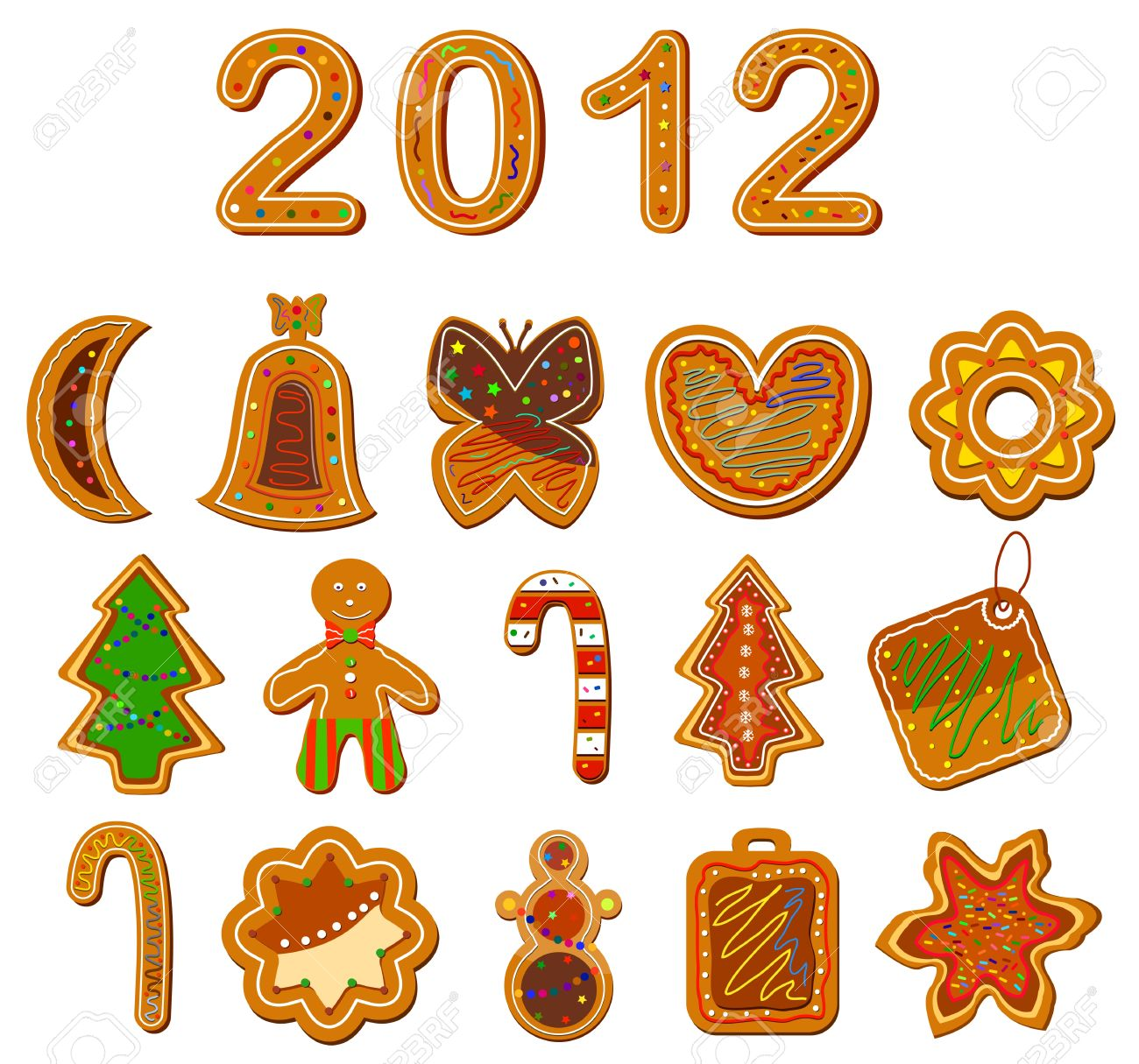 Set of christmas cookies on the white background. Vector illustration Stock Vector - 11235065
