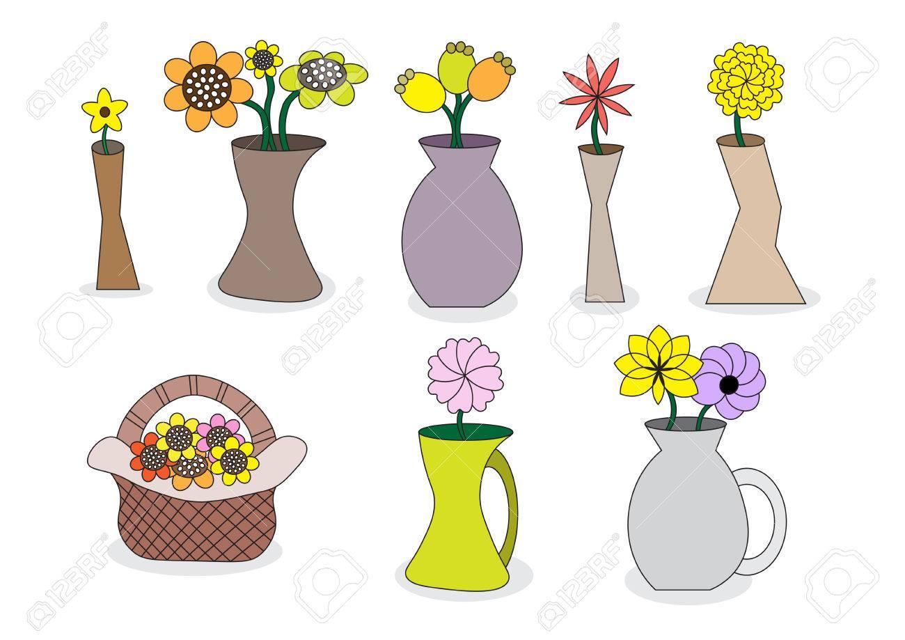 Beautiful cartoon flower vases vector illustration set with beautiful cartoon flower vases vector illustration set with different vase styles stock vector 36673801 izmirmasajfo