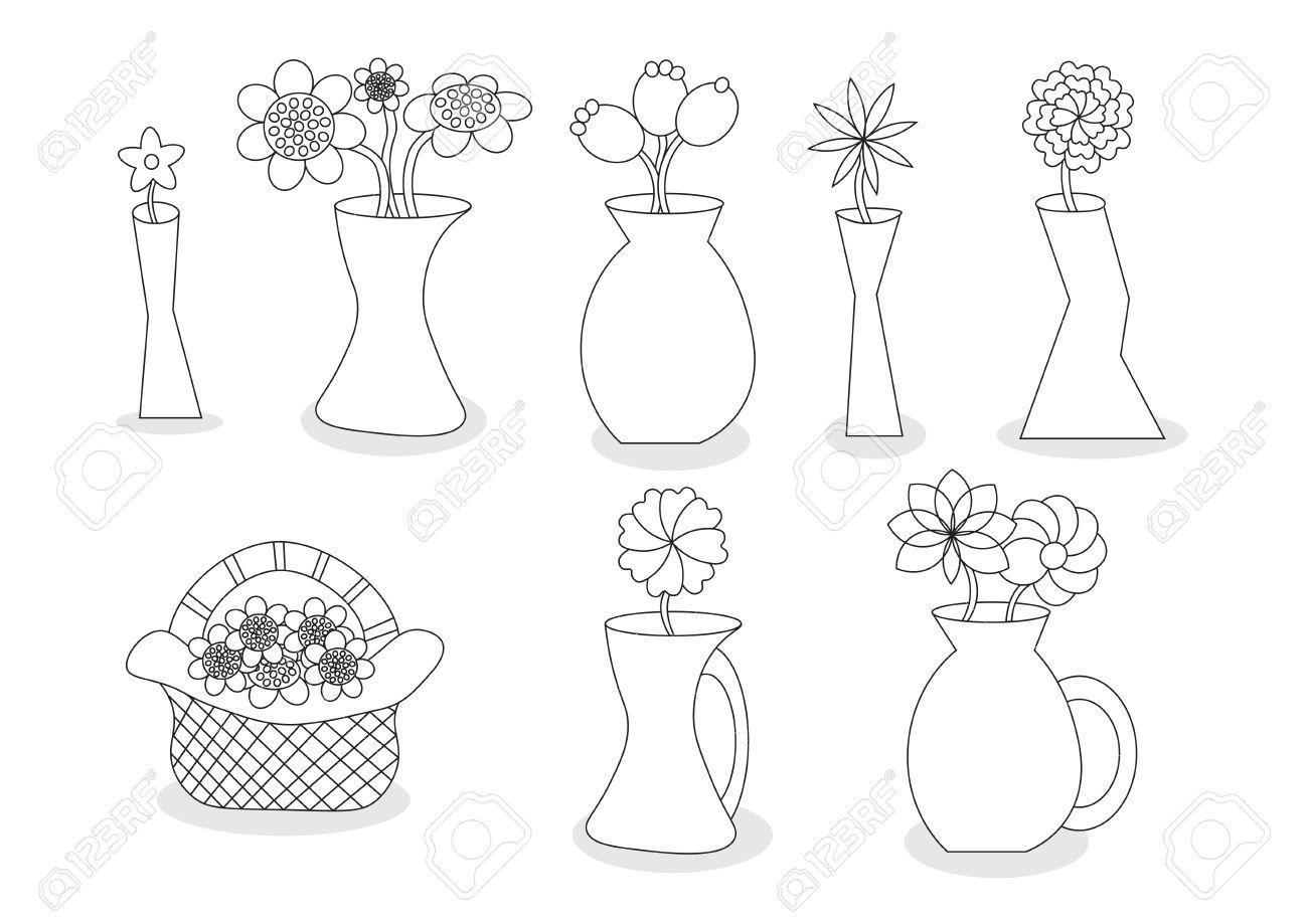 Linear beautiful cartoon flower vases vector illustration set linear beautiful cartoon flower vases vector illustration set with different vase styles stock vector 36673802 reviewsmspy