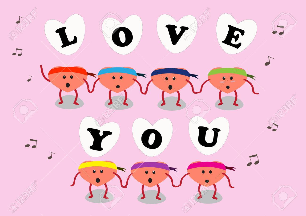 heart cartoon character vector illustration with letters of love