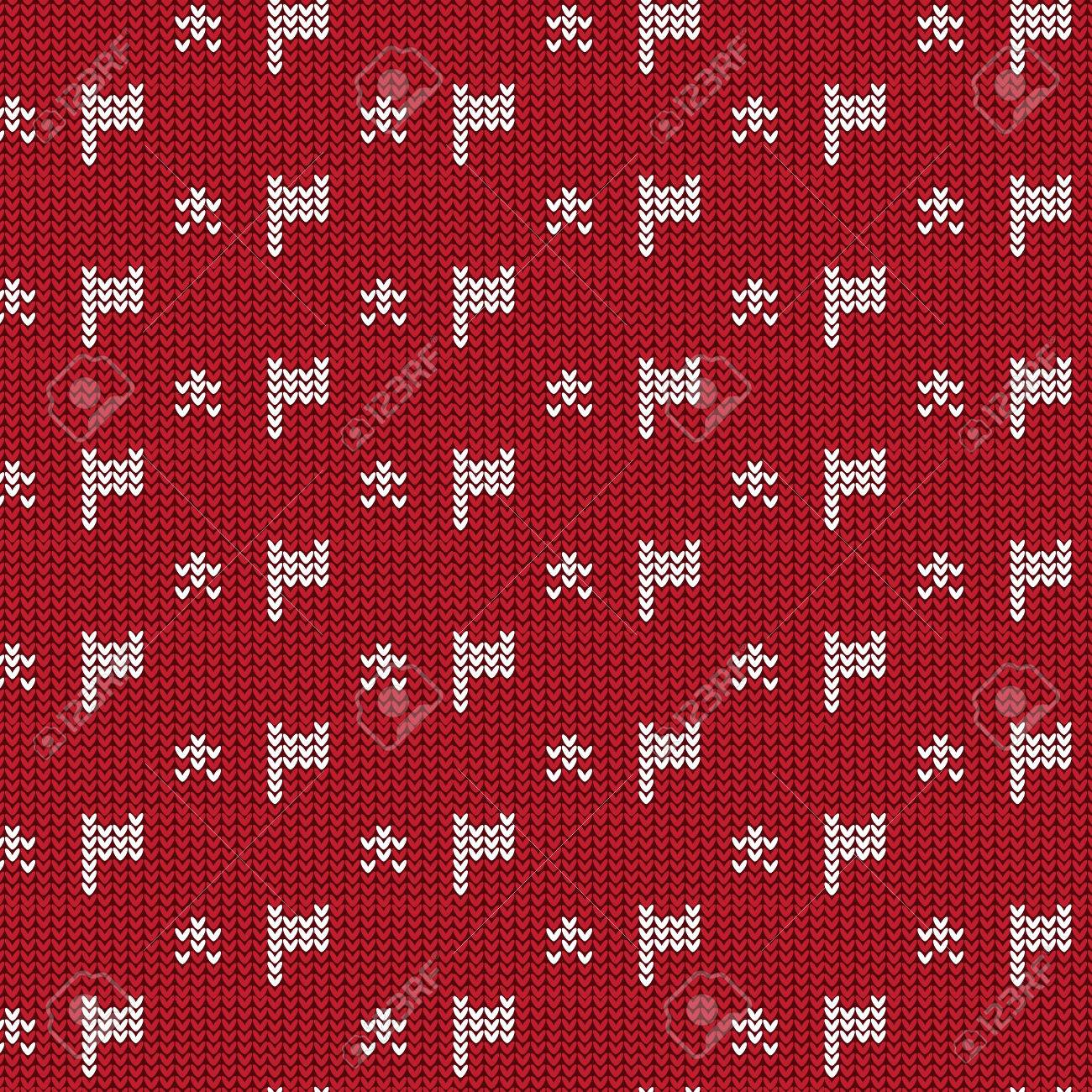 Red And White Flag With Star Knitting Pattern Background Vector ...