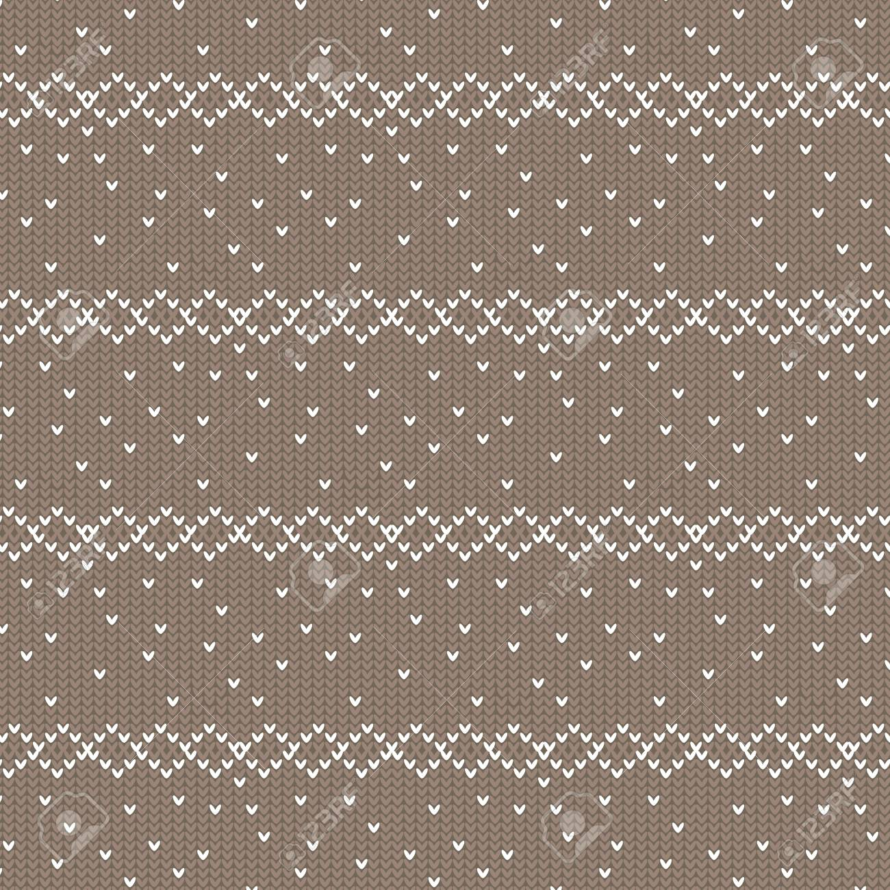 Brown And White Diamond Row With Spot Knitting Pattern Background ...
