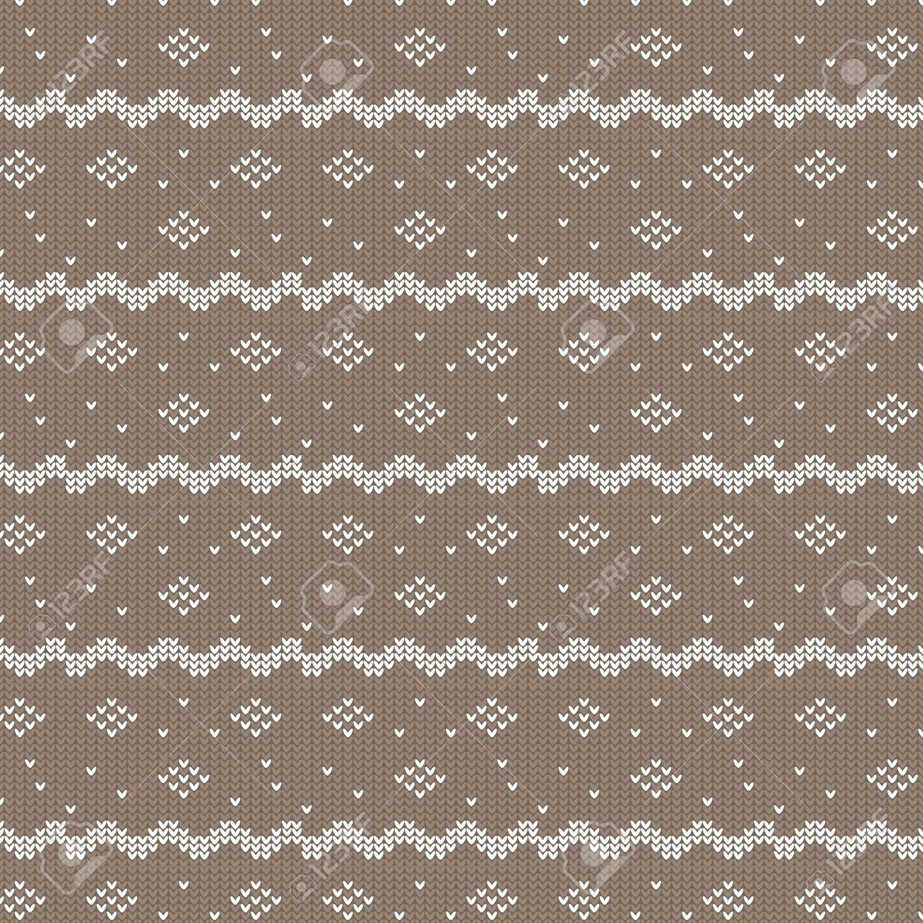 Brown And White Curved Striped With Diamond Shape And Dot Knitting ...