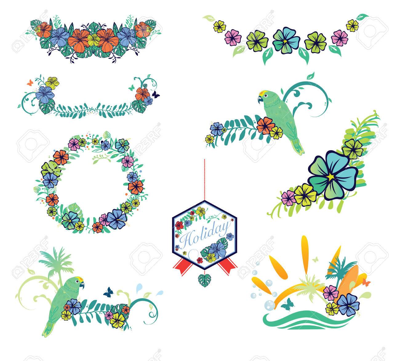 Set Of Designs On Vacation Theme With Hibiscus Flower Parrot