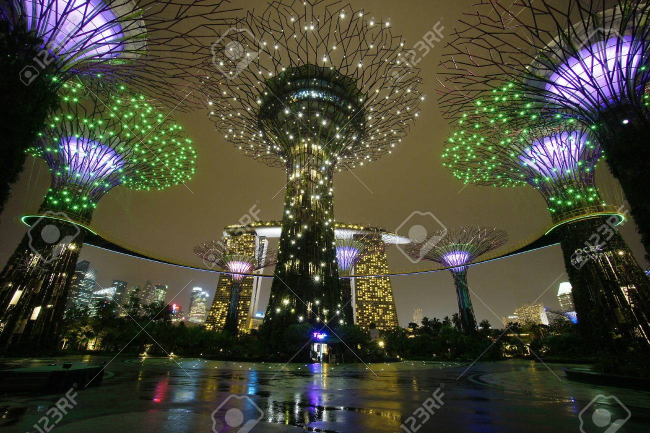 Singapore - August 16, 2012 The Supertree Grove At Gardens By ...