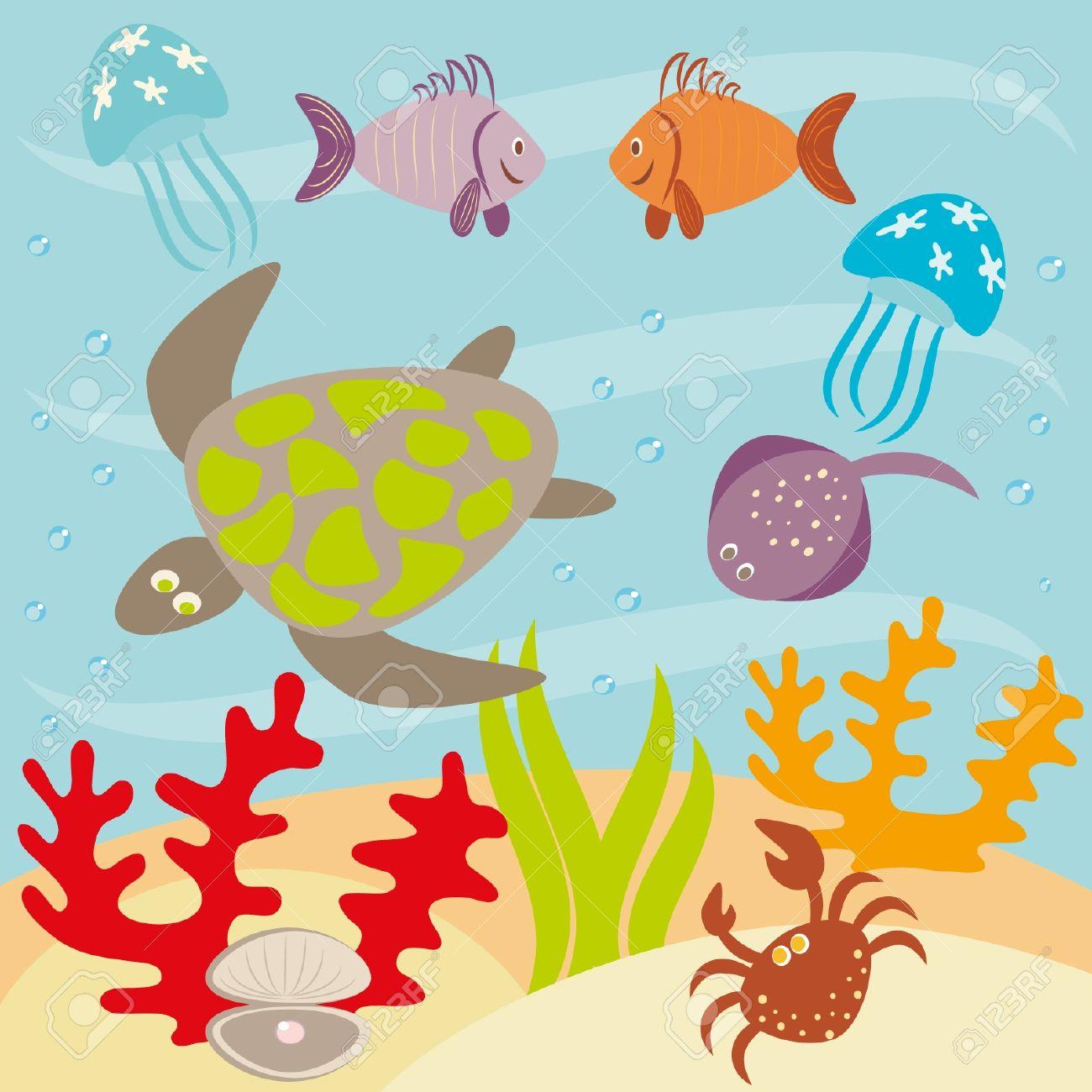 Underwater landscape and animals living in ocean Stock Vector - 12694677