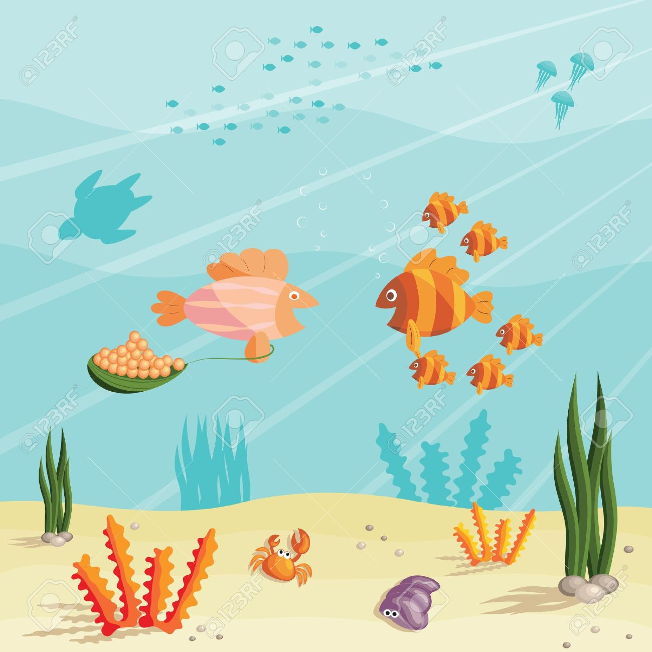 illustration of an underwater ocean scene with small cartoon rh 123rf com Cartoon Ocean Floor cartoon ocean scenery