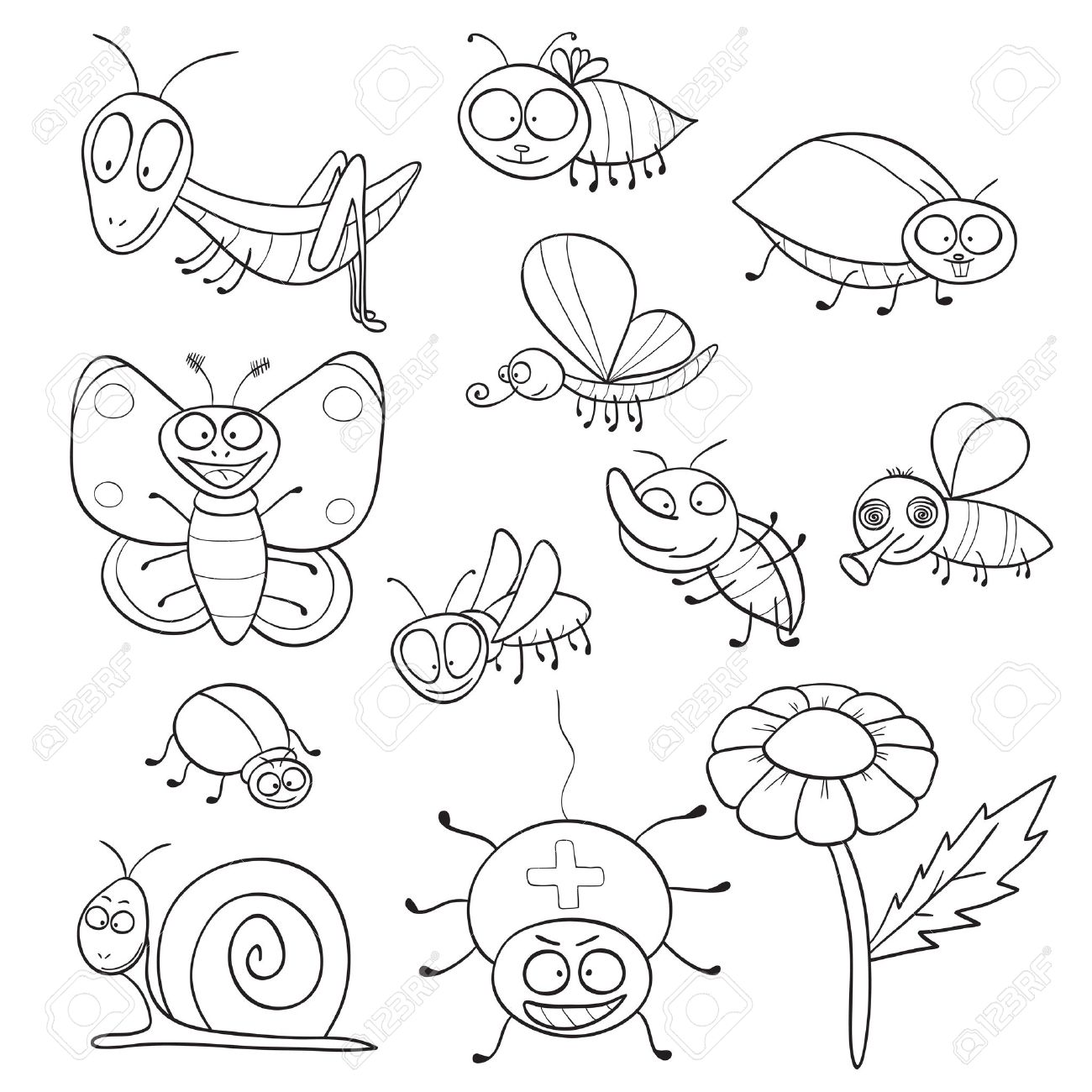 Outlined Cute Cartoon Insects For Coloring Book Vector Illustration