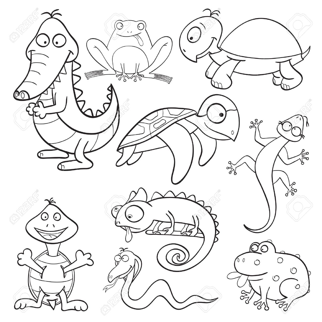 Outlined cute cartoon reptiles and amphibians for coloring book Stock Vector - 13878679