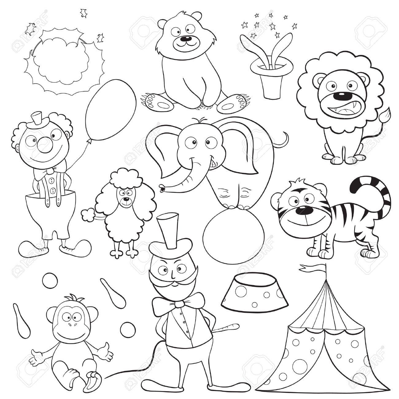 Esbozado Los Elementos De Circo Lindo De Dibujos Animados De Libro