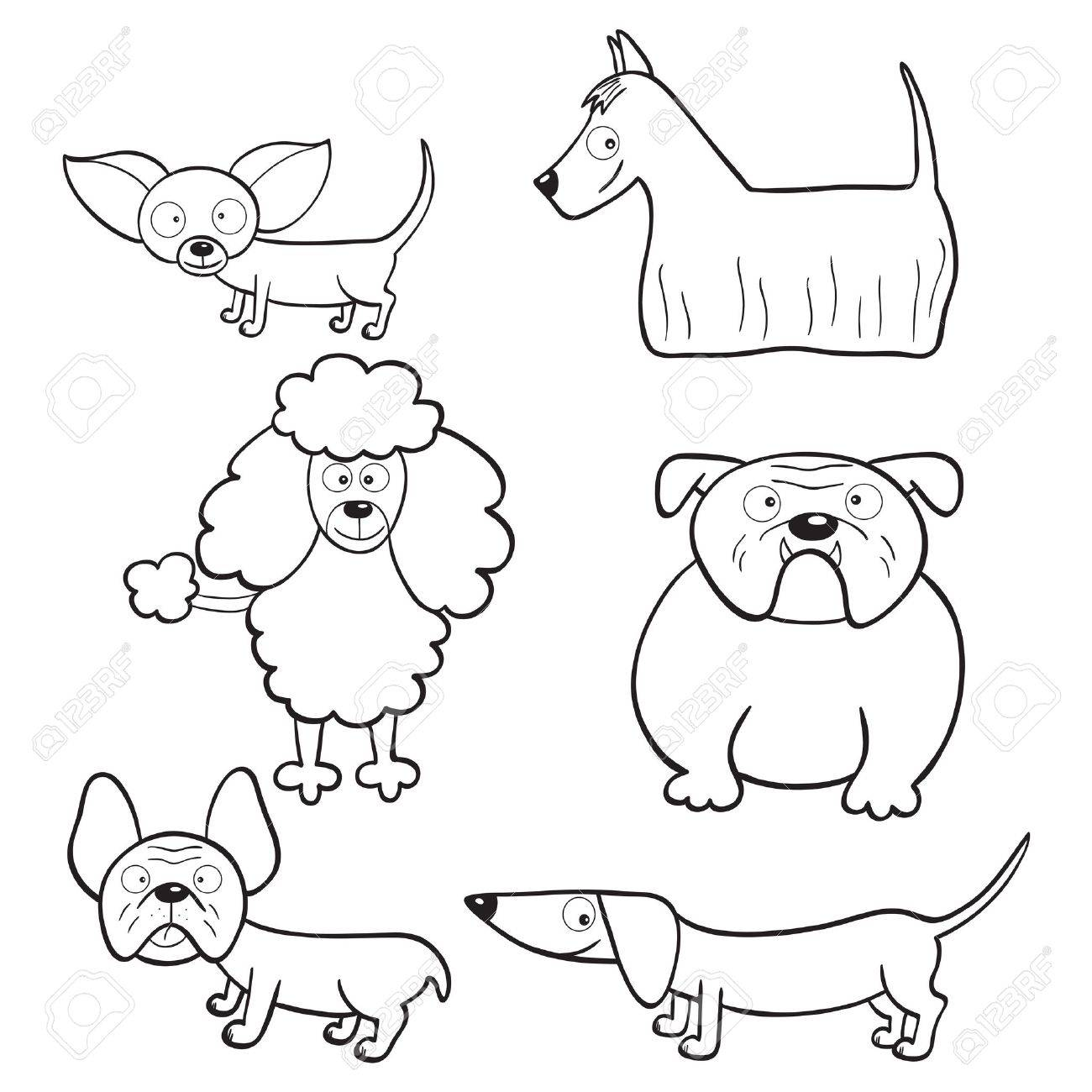 outlined cute cartoon dogs for coloring book royalty free cliparts