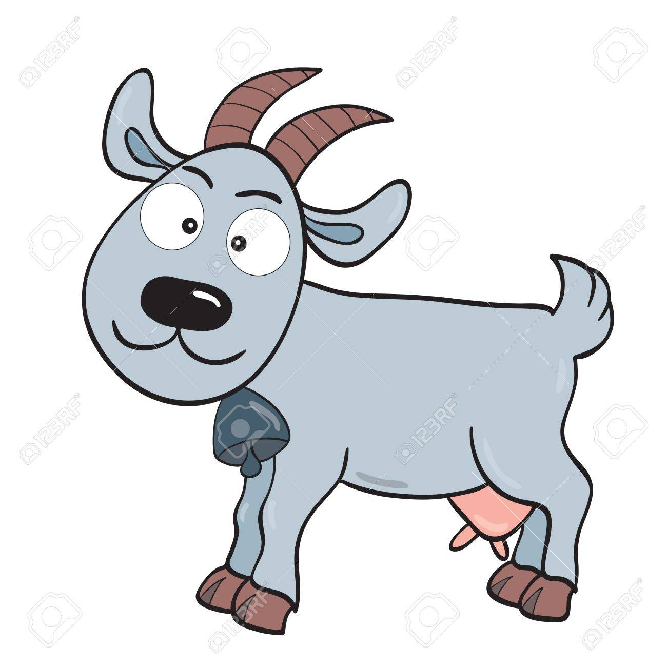 illustration of smiling cute cartoon goat. Stock Vector - 14744170