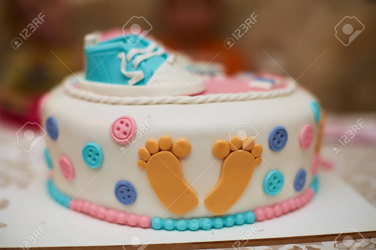 Beautiful Big Pink And Blue Cake Birthday Cake Stock Photo Picture