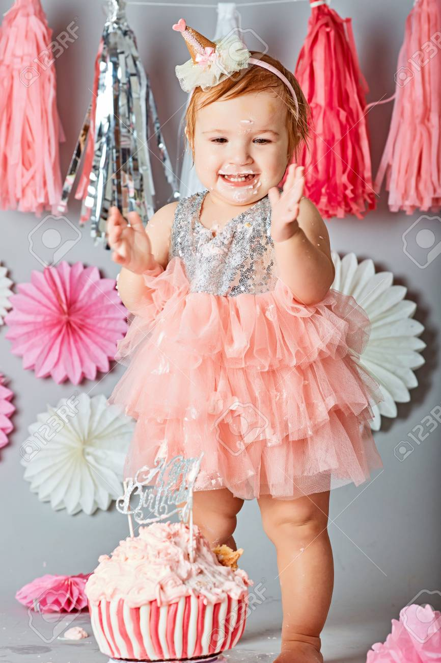 Magnificent Baby Girl First Birthday Cake Smash Photo Shoot Stock Photo Personalised Birthday Cards Veneteletsinfo