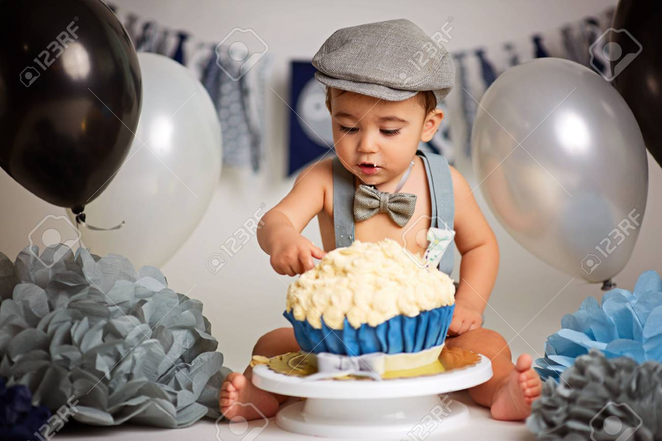 Pleasing Boy Birthday Cake Smash Stock Photo Picture And Royalty Free Funny Birthday Cards Online Hetedamsfinfo